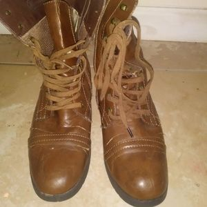 Wanted chocolate brown combat boots